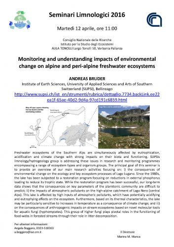 Monitoring And Understanding Impacts Of Environmental Change On Alpine And Peri Alpine Freshwater Ecosystems Consiglio Nazionale Delle Ricerche