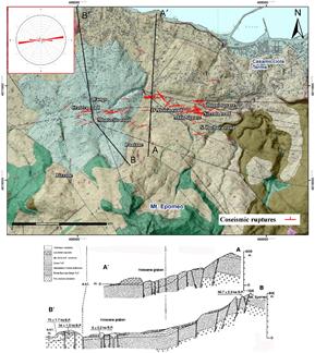 Mappa delle rotture cosismiche nell?area del rilievo con il diagramma a rose (in alto a sinistra) che mostra la direzione prevalente Est-Ovest delle rotture cosismiche, sovrapposta alla carta geologica di Vezzoli (1988) con le tracce delle sezioni geologi