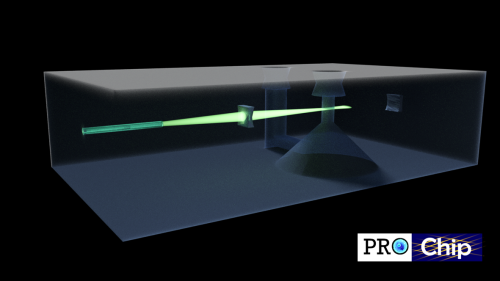 Rendering of the optofluidic super-resolution microscope on chip fabricated by femtosecond laser writing