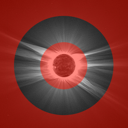 A simulated image of the Metis point of view, at a distance of 0.39 astronomical units (AU) from the Sun
