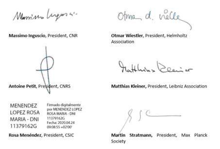 Le firme dei presidenti delle istituzioni coinvolte