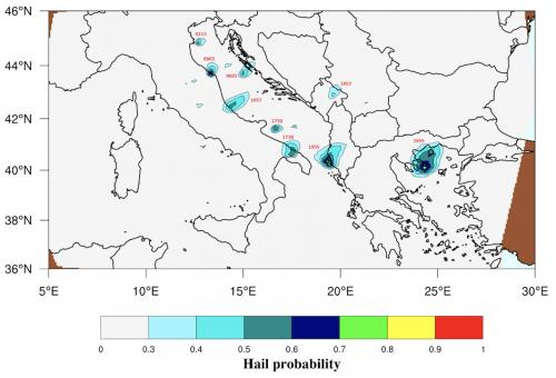 Ricostruzione cronologica della sequenza giornaliera delle grandinate più intense che hanno interessato la costa adriatica il 10 luglio 2019. Le etichette, indicano l'ora di passaggio del satellite che ha effettuato il retrieval.