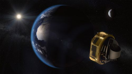 Artist's impression of Ariel on its way to Lagrange Point 2 (L2). Here, the spacecraft is shielded from the Sun and has a clear view of the whole sky. Image Credit: ESA/STFC RAL Space/UCL/Europlanet-Science Office