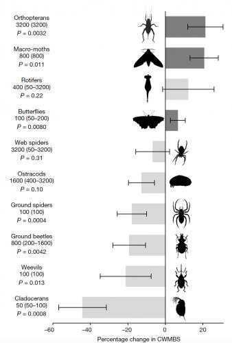 Cambiamento nella taglia media nei dieci gruppi animali analizzati in relazione all'urbanizzazione