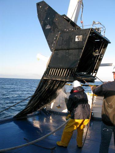 Attività di campionamento di plancton in mare con Bioness, strumento che consente pescate multiple a diverse profondità, fino a oltre 1000m. (Credits: Marco Pansera, Cnr-Ismar)