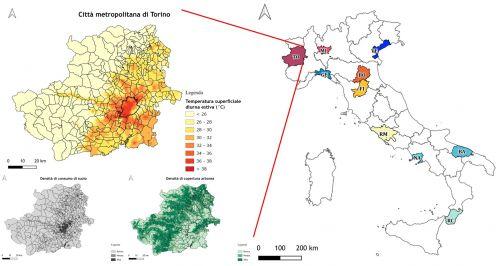 Le 10 città metropolitane studiate (Fig. a dx) e un esempio di isola di calore estiva relativa alla città metropolitana di Torino (Fig. in alto a sx)