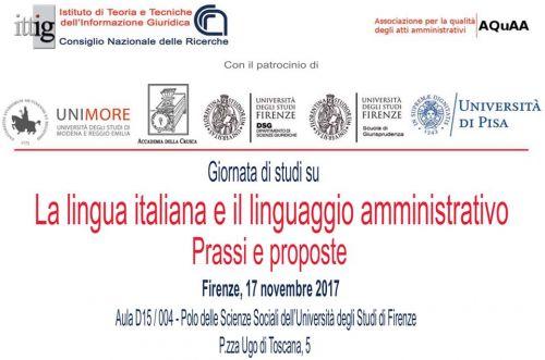 Invito La lingua italiana e il linguaggio amministrativo: prassi e proposte - 17 novembre 2017 Firenze