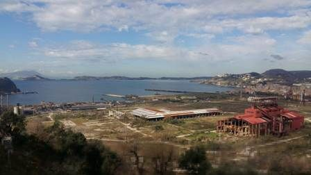 The brownfield area of Bagnoli and the sea