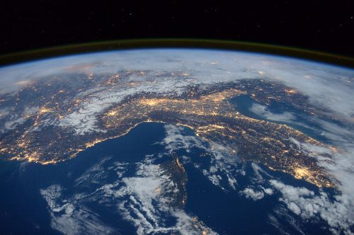 A view from space of a portion of Italy, of the Mediterranean Sea and of the Alps