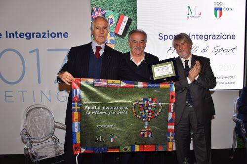 Da sinistra, Giovanni Malagò, Emiliano Mondonico e il ministro Giuliano Poletti