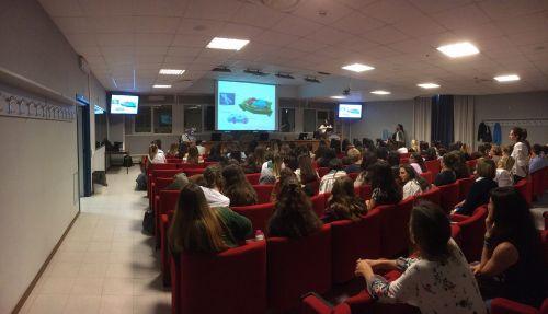 La sala conferenze dell'Area della ricerca RM 1 Montelibretti dove si è svolto l'evento