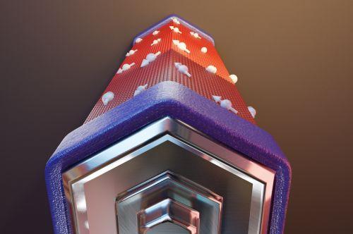 Immagine artistica della batteria di fase quantistica. I poli (blu) costituiti da elettrodi superconduttivi di alluminio e il corpo centrale (rosso) formato da un nanofilo di Arsenuro di Indio. [Crediti: Andrea Iorio- SNS]