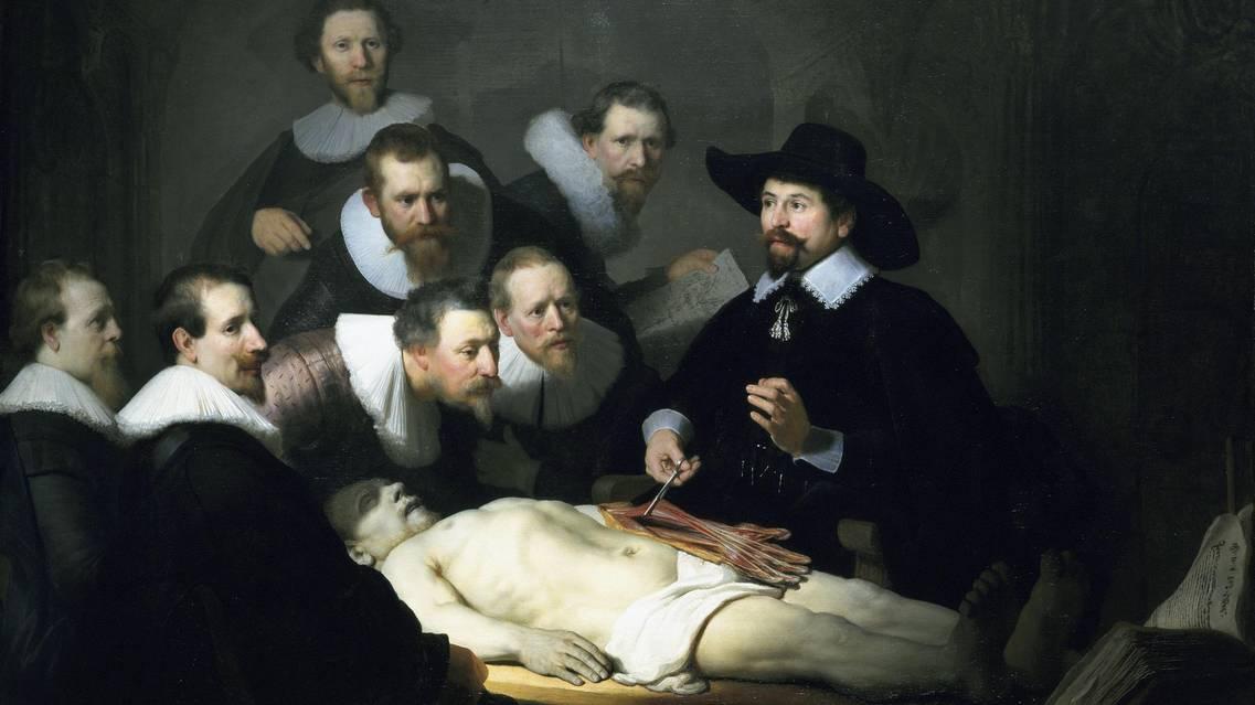 Rembrandt Harmenszoon van Rijn, Lezione di anatomia del dottor Tulp (1632 Mauritshuis, Den Haag). Tra i dipinti più celebri con soggetto medico, l'opera venne commissionata al ventiseienne Rembrandt dalla corporazione dei medici di Amsterdam. Vi viene rappresentata una lezione del professor Nicolas Tulp, titolare della cattedra di anatomia.